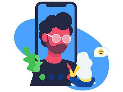 Phone conversation communication button flowers emoji glasses iphone x ipxone iphonex bell character man people person girl woman design sketch web flat illustration