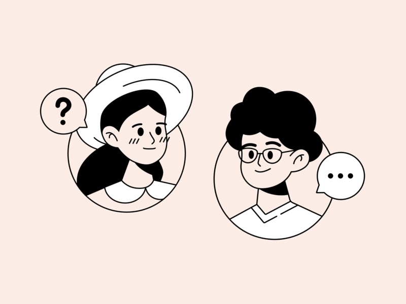 Question support face hat faq question man people girl woman person sketch design web flat illustration