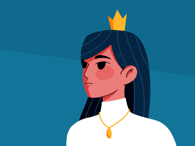 Woman hair face crown procreate girl woman person design flat illustration