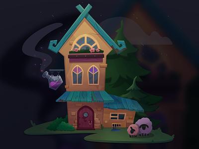 Potion shop shop cloud night window gameart 2d sheep tree potion bottle house procreate design illustration