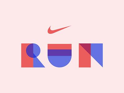 RUN running run nike origami font typeface geometric geometric typography typography