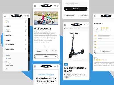 Micro Scooter - E-commerce web design ux kids micro mobility micro mobility scooters scooter ecommerce e-commerce shop magento ui