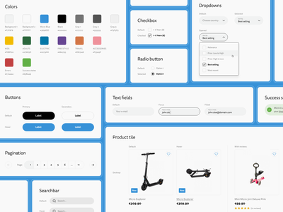 Micro Scooter - E-commerce - Style guide preview product tile checkbox radio buttons dropdowns buttons components system design system ui shop ux e-commerce ecommerce