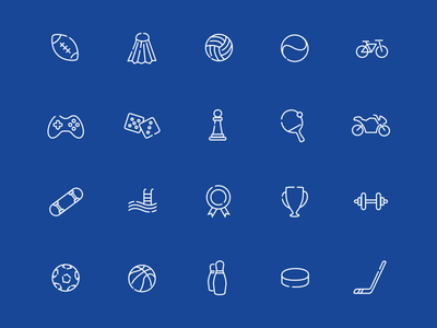 Sport and hobbies icon set