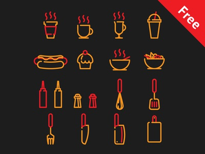 Free icons for cafe and streetfood