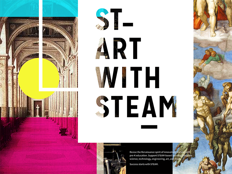 START WITH STEAM identity logo poster education