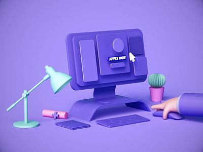 Apply now site aftereffects web design interface color simplicity artwork simple clean c4d motion graphics ui design animation minimalistic illustration 3d