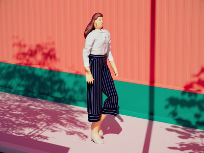Summer Walking aftereffects simplicity nature character girl summer simple clean motion graphic ui design light motion graphics cartoon animation minimalistic illustration 3d