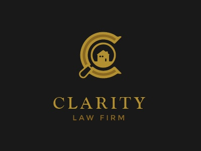 Logo - Clarity Law Firm logo law firm magnifying glass house letter c gold branding identity
