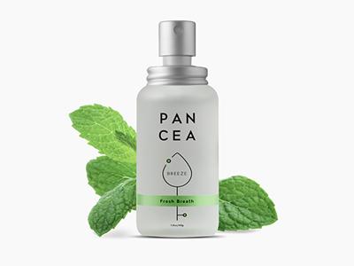Breath spray label design mint spray bottle green cosmetics packaging