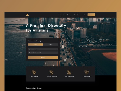 Landing Page Design - Triangle cards ux directory artisan dribbble dark clarity branding ui gold
