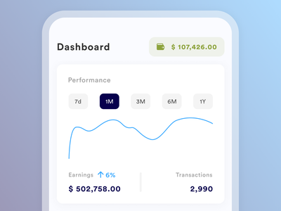Earnings Dashboard Mobile UI wallet vector ux ui typography money ios graph design daily clean branding brand app agent milestones targets mobile dashboad home