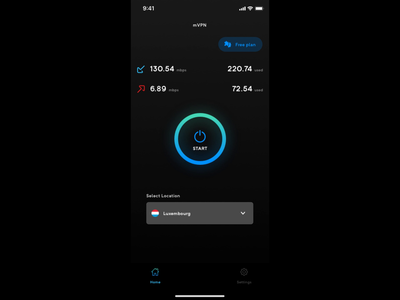 mVPN - App Design dark app dark ui vpn app vpn product design dribbble iphonex principle prototype ios dark app mobile ux design ui