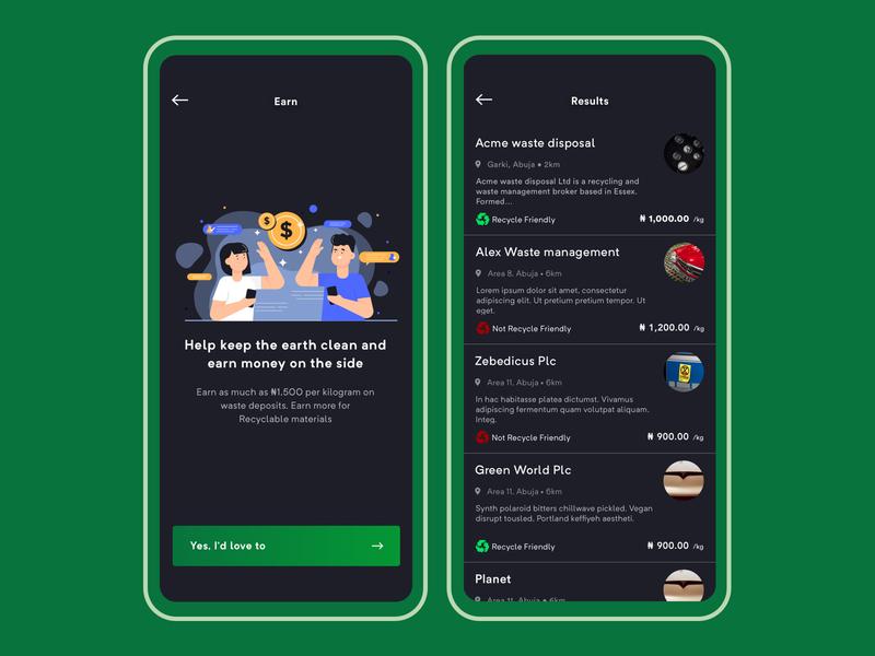 Waste Management - App Design app illustration dark mobile ux dribbble design ui waste management waste