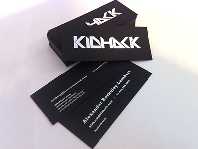 Kidhack white foil business cards by alexander berkeley lambert personal business cards made of duplexed 122 plike black 35 x 15 substrate with white foil embossing on each side back side has 2 variations one for colourmoves