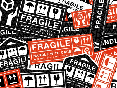 Vector Fragile Stickers shipping label packaging package sign handle with care fragile icondesign badge sticker graphicdesign illustration