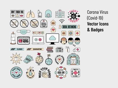 Corona Virus (Covid-19) Vector Icons & Badges solidarity social distancing quarantine flat design label brand design covid-19 logo design illustration graphic design icon desgin badge badge design corona virus vector illustration