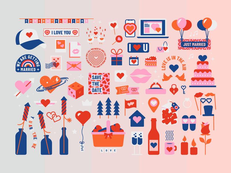 Icon Set LOVE wedding icon vector illustration vector design vector icon valentine love icon logo design in love heart heart icon badge design illustration icon set icon design love