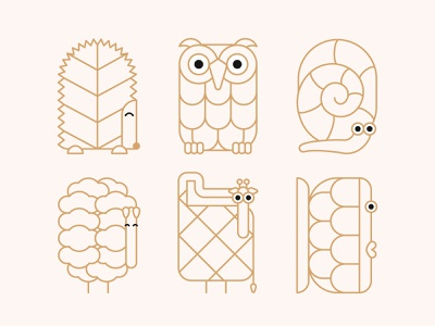 Animal Characters snail owl hedgehog sheep giraffe fish flat illustration animal illustration animal character character design vector illustration vectorillustration illustration