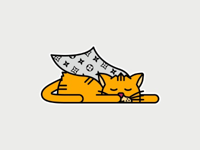 Cat Louis Sticker character design super cat sleeping cat high fashion louis vuitton sticker art sticker illustration sticker design graphic design vector illustration cat illustration cat lover cat sticker