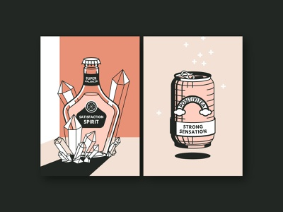 SatisfactionSpirit & Positivitea – Postcard Series (Tasty Vibes) postcard greeting card tasty can diamond cheers spirit conceptual beverage drinks positivity vector illustration illustration illustrator