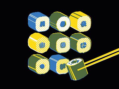 Sushi Time vector vectorillustration sushiillustration posterdesign geometricalillustration illustration graphicdesign