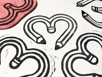 Rubberstamp Pencilheart pencilandpaper printmaking artprint patterndesign stamp rubberstamp vectorillustration pencilicon pencil pencilillustration icondesign heartdesign