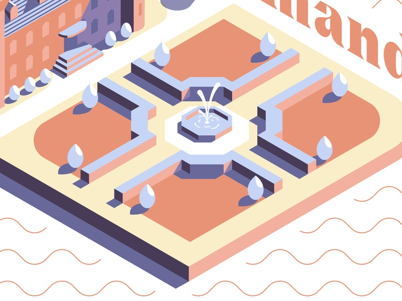 Le Château Normand - The Garden chateau castle isometry isometric graphic modern flat minimalist design illustration