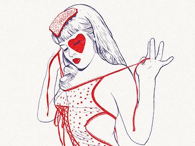 Zivity Valentines - Sneak peek. illustration wacom valentine letterpress vintage texture pinup