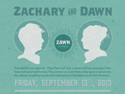 Zawn - The Invites wedding retro space sci-fi branding print invitation logo