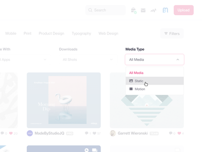Dribbble Media Filter Idea dribbble request select dropdown menu figma media type product design idea dribbble filter dribbble feature