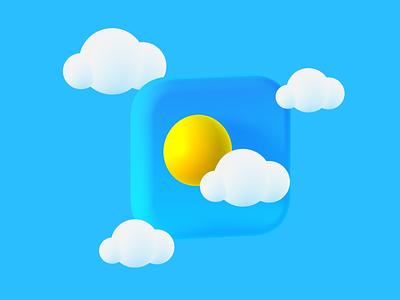 3D Weather Icon 3d illustration sky sun spline illustration weather clouds 3d icon weather icon