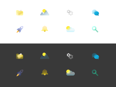 Glass Icons Exploration exploration image figma icon design iconography iconset rocket notifications weather search chat settings folder illustration frosted icons glass icons icons