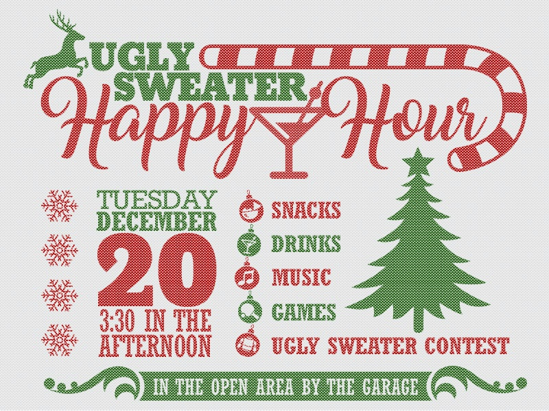 Office Ugly Sweater Happy Hour Invite By Ben Mettler Dribbble