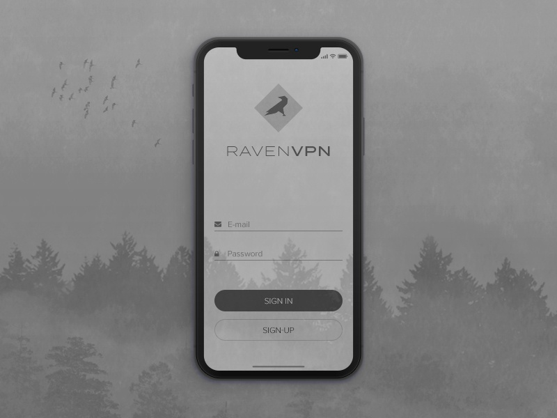 Raven VPN ui sign-up sign-in login mobile app vpn iphone x