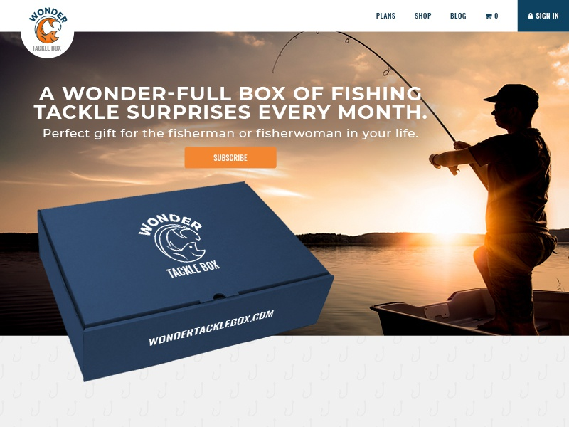 Wonder Tacklebox Homepage subscription fishing tackle e-commerce shopping website ui homepage