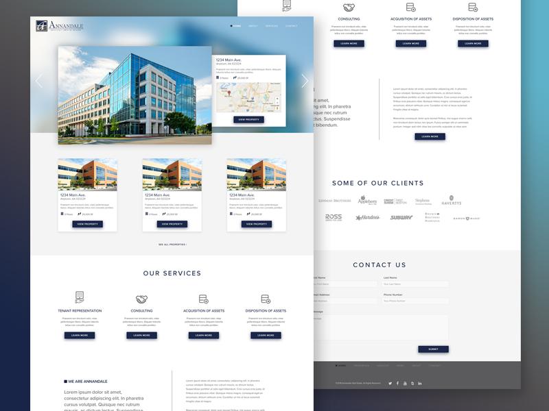 Annandale Real Estate Website interface cards ui mockup real estate landing page website homepage
