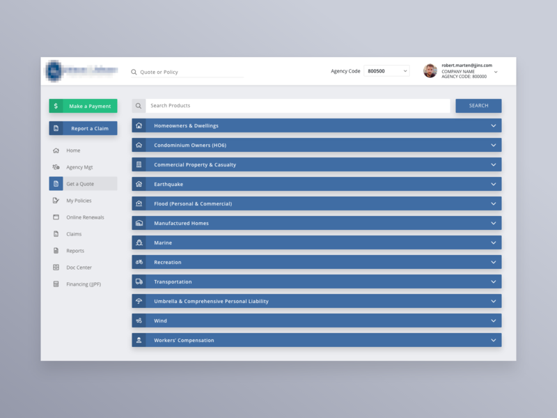 Insurance Dashboard - Get a Quote adobe xd rows expand collapse table ux ui side nav quote insurace list dashboard