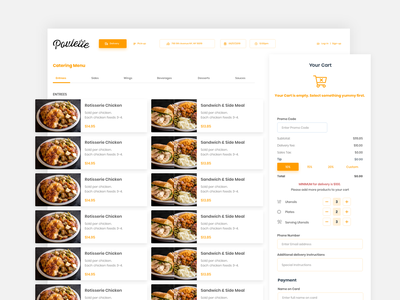 Catering Dashboard cart adobe xd shopping ui delivery menu food ordering catering dashboard