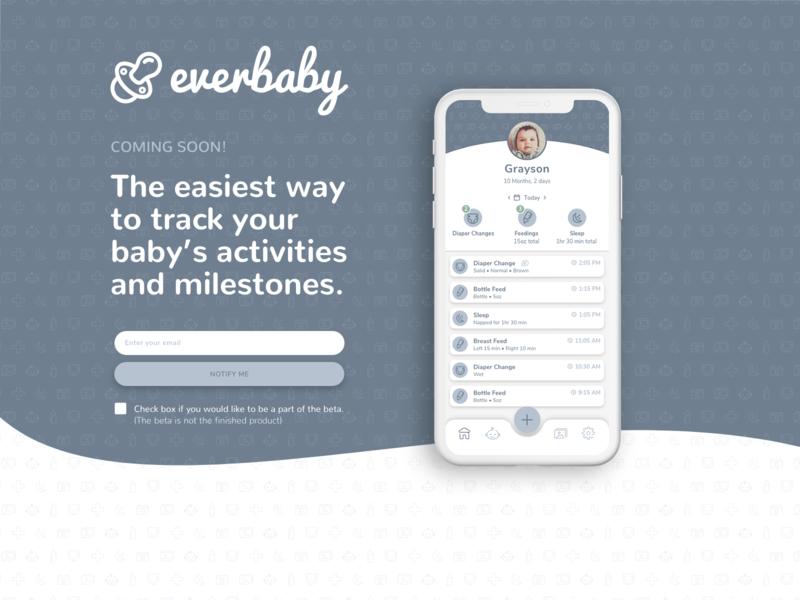 Everbaby Landing Page iphone ios product design webdesign ui webflow adobe xd app design baby tracking app website landing page