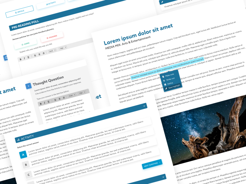 #Exploration  Article & Activity Interaction student activity reading poll steps splitscreen activity quiz highlighting lesson edtech article elearning product design ux ui