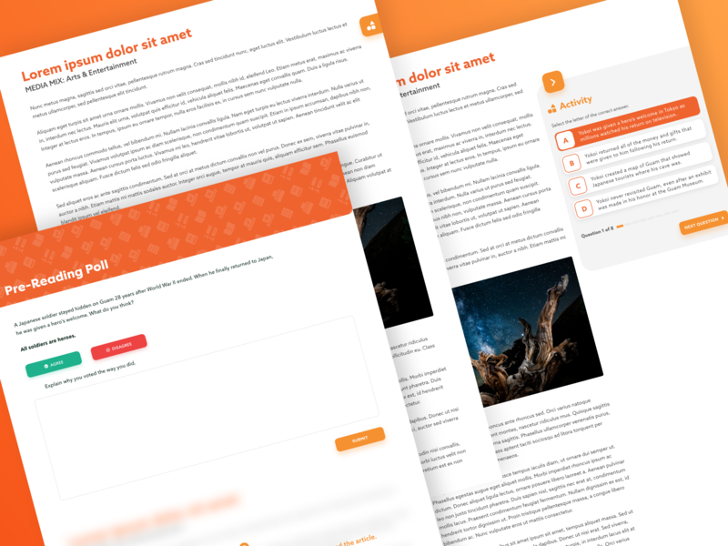 #Exploration Article & Activity Interaction split-screen adobe xd lesson question ux ui poll education kids learning quiz activity edtech article elearning