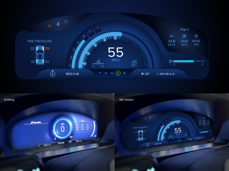#Exploration Ford Digital Gauges exploration adobe xd mph rpm car dashboard auto ui digital gauges car ui