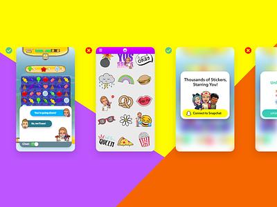 Bitmoji Kit Guidlines product design adobe xd snap kit documentation chat ui mock-ups mobile avatars app rules guidelines snapchat bitmoji