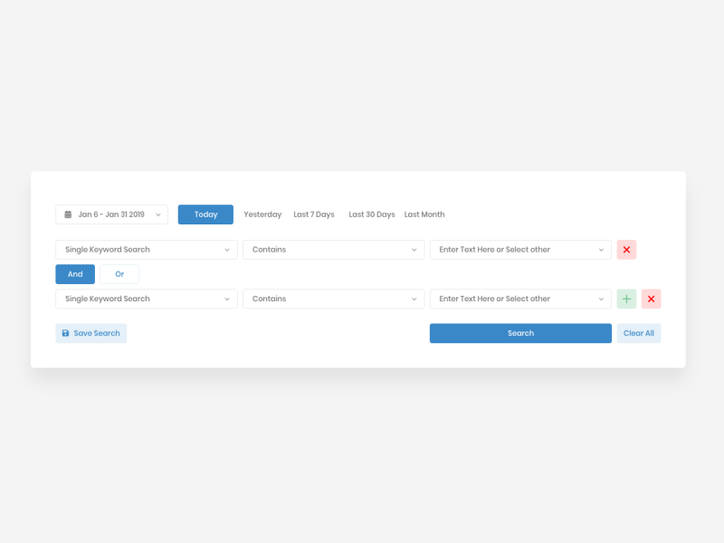 Advanced Search Filtering date range adobexd add search ui keyword search and or search filtering