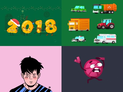2018 2018 invite children new year dribbble sun logo illustration characters gif loop character animation