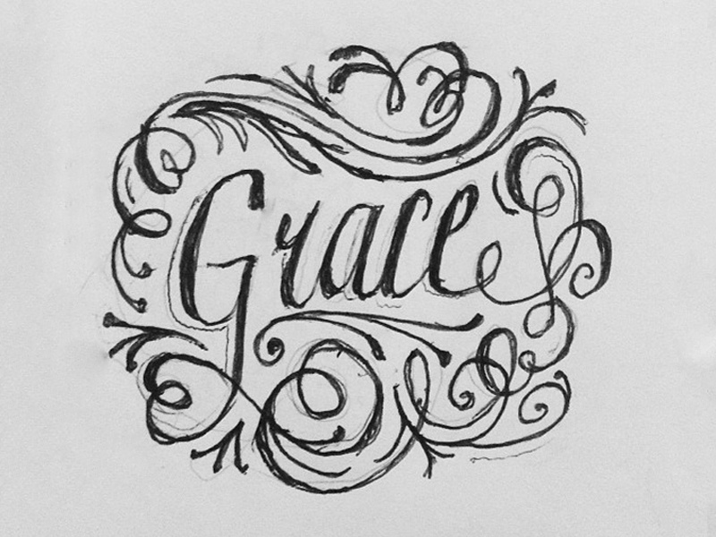 Amazing Grace lettering script typography illustrative swashes letters drawing