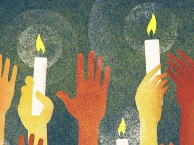 ReFuel Concert Poster poster illustration concert hands light candles drawing texture