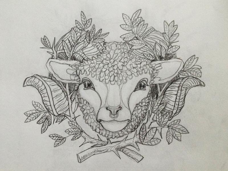 Hashem Tattoo pt. 2 symbolic design flash tattoo horn horns sheep ram lamb illustration drawing pencil