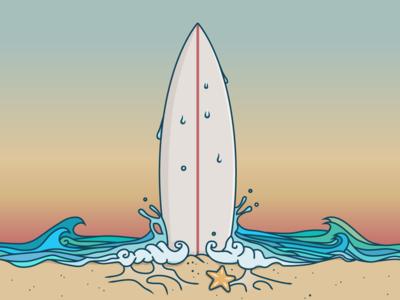 Sunset Surf summer beach sun sunset surfboard illustration wave waves sea ocean surfing surf
